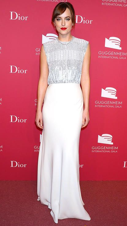 Dakota Johnson in a white beaded Dior dress