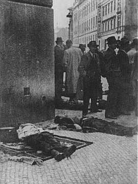 SS General Reinhard Heydrich's assassins, Czech partisans, lie dead in front of the Carlo Boromeo Church (now the St. Cyril and Methodius Church). Prague, Czechoslovakia, June 1942. — Czechoslovak News Agency