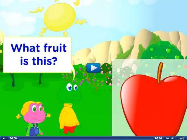 Engels leren aan kleuters met het digibord , kleuteridee.nl . what fruit is it, it is an apple