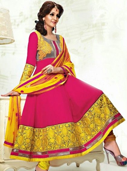 Shop Here http://www.silkmuseumsurat.in/salwar_kameez/pink-yellow-color-faux-georgette-anarkali-suit Item #: 3912 Pink & Yellow Color Faux Georgette Anarkali Suit Color : Dark Pink, Yellow Fabric : Faux Georgette Occasion : Bridal, Casual, Festival, Party, Reception, Wedding Style : Anarkali Dress Work : Embroidered, Patch Border