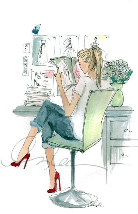 Fashion sketch by Inslee Haynes. Love her style.