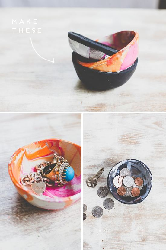 DIY marbled pots, using oven bake clay and nail polish - I feel some DIY christmas presents coming on...