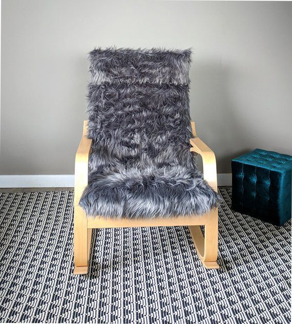 Gray Fur Ikea Poang Cushion Slipcover Custom Fur Ikea Chair Cover