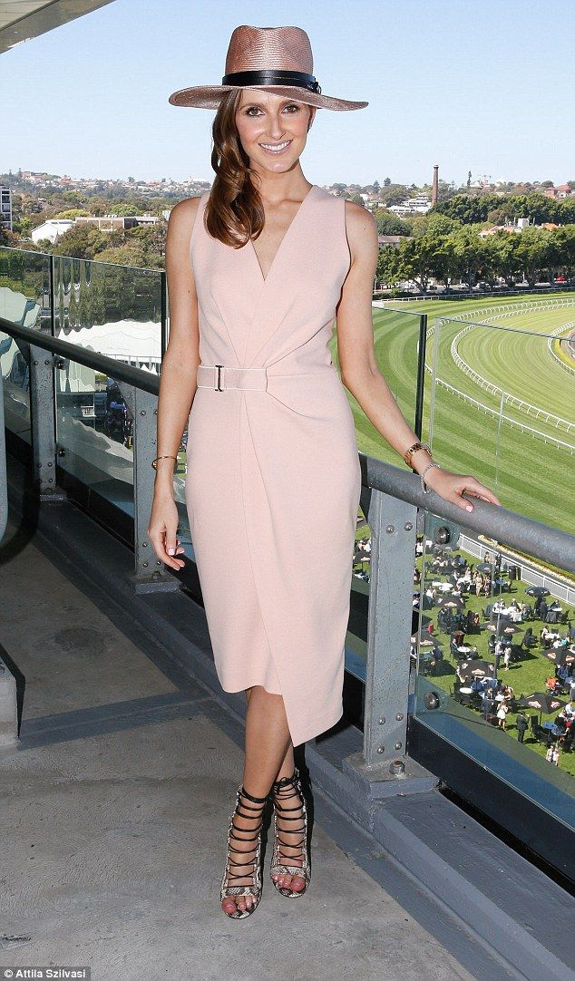Kate Waterhouse in Aquazzura Amazon Heels, Nerida Winter Hat, Dion Lee Dress.