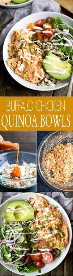 Buffalo Chicken Quinoa Bowls topped with avocado, tomato, shredded buffalo chicken, drizzled with ranch and served on a bed of quinoa. Football food just got a healthy facelift! | joyfulhealthyeats... #glutenfree