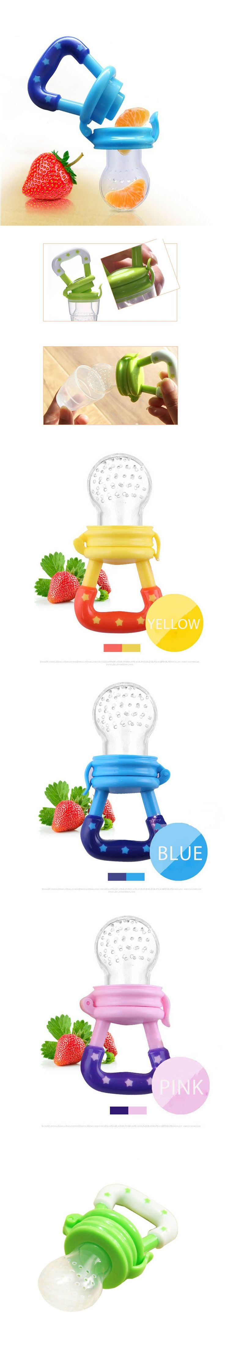 1 Piece Baby Teether Pacifier Fruit BPA Free Safety Newborn Teethers Nipple Shape Teether Oral Care Yellow Green Blue Pink $3.56