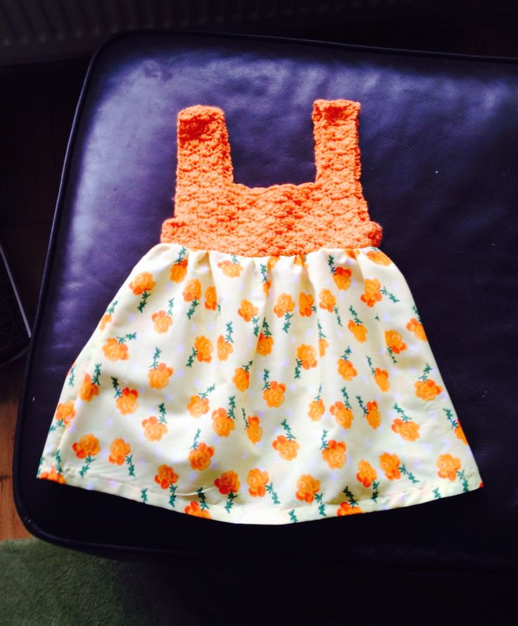 Crochet bodice, material skirt in lemon and Orange