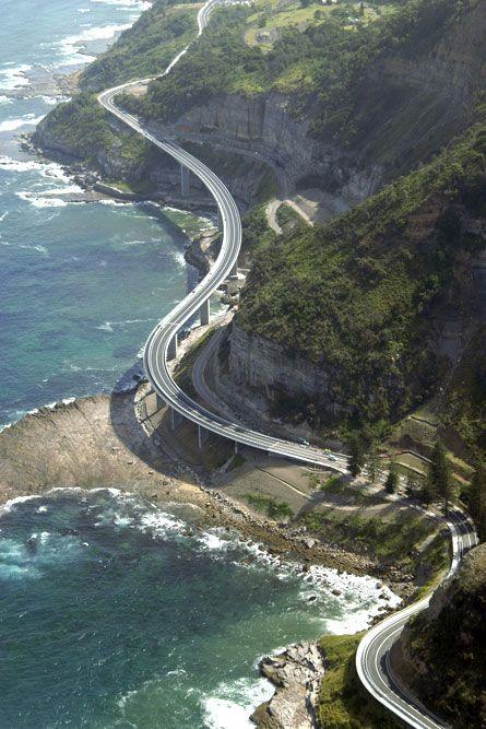 Aerial view of Sea Cliff Bridge, Illawarra, Australia