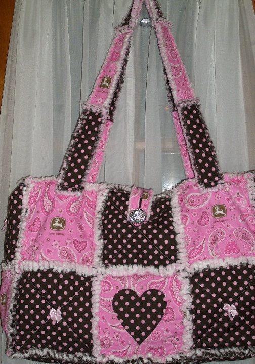 Quilted Rag Bag john deere rag purse www.facebook.com/handmade.by.jenni