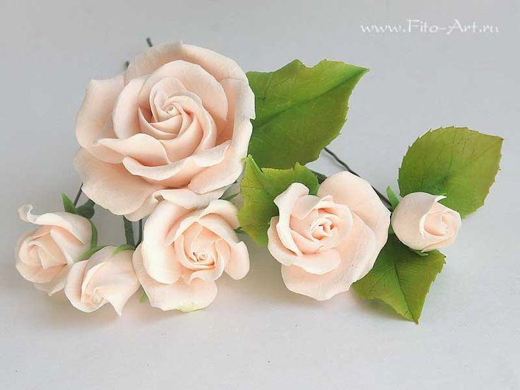 Готовые работы : Кремовые розы для украшения прически - В НАЛИЧИИ - Fito Art
