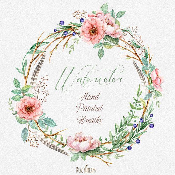 Coronas de flores acuarela con elementos florales y por ReachDreams