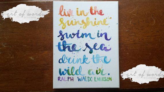 Vivre sous le soleil, nager dans la mer boire le sauvage Air Wall Hanging main lettrage toile cite Art Decor signe dortoir décoration sur toile