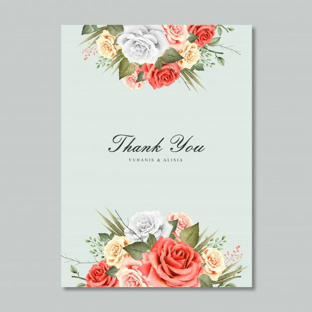 blank template wedding invitation with floral design