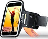 """Universal Sports Armband for Running Compatible With iPhone 7 Plus / Samsung Galaxy Note 4 5 7 / S6 Plus / S7 Edge (5.5"""" - 5.7"""") 2 x ID / Credit Card / Money Holder & Key Holder (Jet black)"""