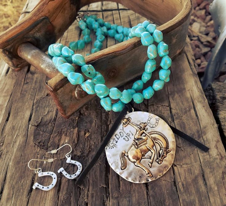 COWGIRL Bling GIDDY UP RODEO BRONC Turquoise Western Gypsy NECKLACE SET #BAHARANCH