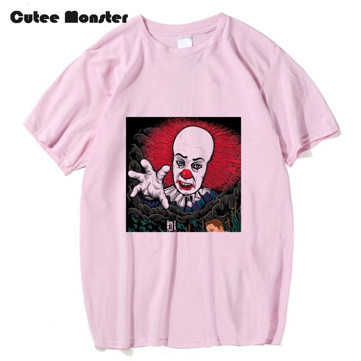 Cutee Monster T Shirt Men Horror Film Stephen King It Tees The Pennywise The Dancing Clown Tops Fashion 100% Cotton T-shirt 3XL #Affiliate