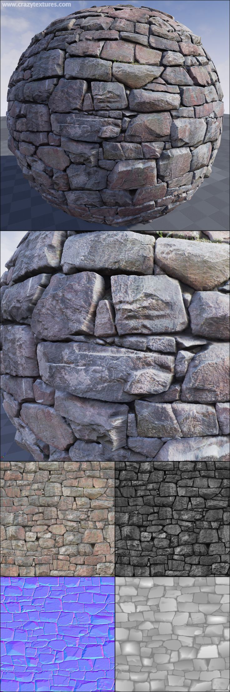 Stones #16. A seamless stones wall texture from www.CrazyTextures.com This and other my textures you can find on the UE Marketplace: https://www.unrealengine.com/marketplace/38-architectural-textures