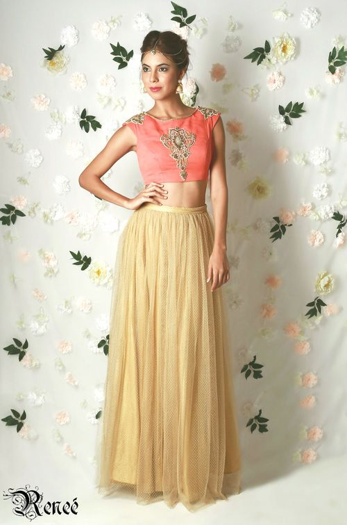 Designer Renee. A gorgeous #coral and #gold #lehenga from $130 AUD available at www.waliajones.com/Renee #indiancouture #saree #anarkali #indianclothes #australia #worldwide #indianfashion #lehenga #drapedgown #gown #indianclothing #online #onlineindian #indians #indian #indiandesigner #waliajones #indianonline #love #fashion #affordableindianclothing #colours #india #desiwedding #indianbride #mehendi #mehndi #sweetheartlehenga #indianblouse