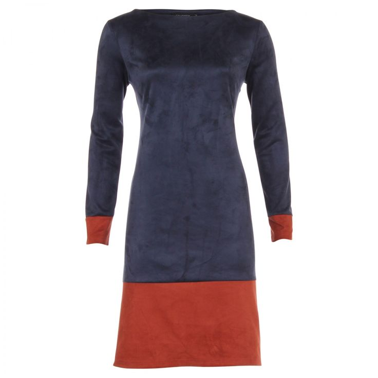 Jurk Charley in dark blue met lange mouwen en boothals, classy en stijlvol.  Van SRNDPTY | Dresses Only