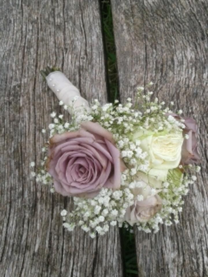 Wedding flowers bridesmaid bouquet roses avalanche ivory dusky pink gypsophila