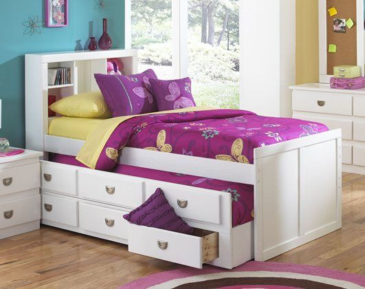 Ponderosa White Twin Bed  399 Crafted of select pine solids in a white  painted finish  Complete twin bookcase captains bed 43x85x48. 15 best Captain Beds images on Pinterest   Bedroom ideas  Beds
