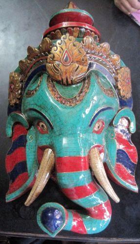 Ganesh Mask Wood Hindu India Nepal Elephant Wooden Wall Hanging Large Turquoise | eBay