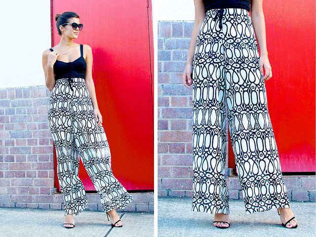Palazzo pants tutorial. Seems easy enough. :) I'd probably use elastic for the waistband though.