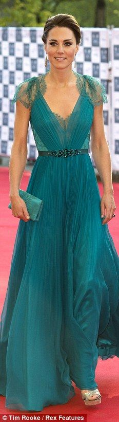 "jenny packham ""aspen"" emerald evening gown and silver ""vamp"" jimmy choo shoes."