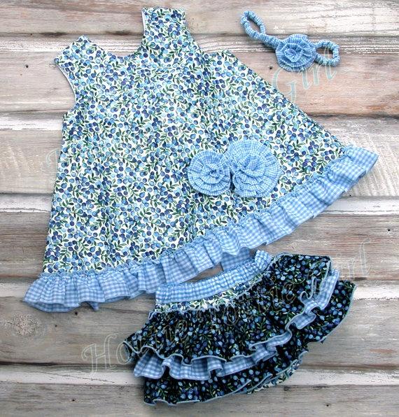 Ruffle Bloomers, Ruffle Diaper Cover, Blueberry Pinafore Set, Ruffle Pinafore Dress Set Baby Gingham- Toddler ruffle skirts 5612 NL. $68.00, via Etsy.