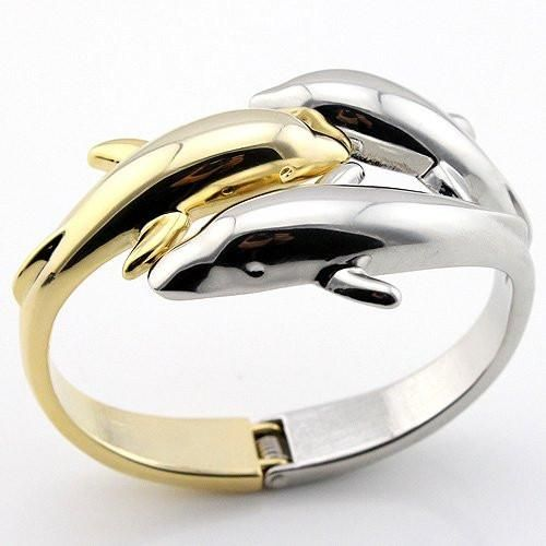 18K Gold Plated 3 Dolphin Bangle 2 Tone