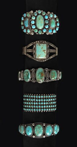 Five Navajo or Zuni bracelets.. Set with turquoise in single multiple or cluster settings..☮♥♓