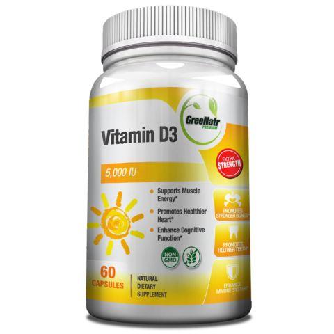 High Absoprtion Vitamin D3 5000 IU Capsules - Gluten-Free