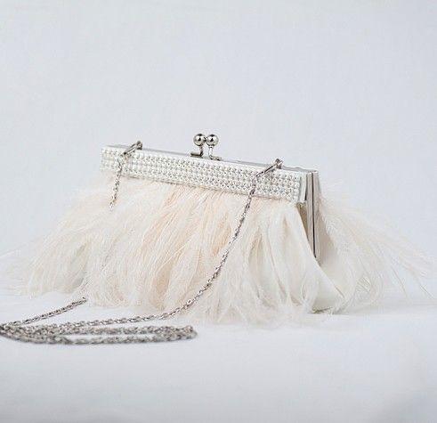 Wedding Purse, Bridal Clutch, Feather Handbag, Ostrich Feather Clutch - XENA. $99.00, via Etsy.
