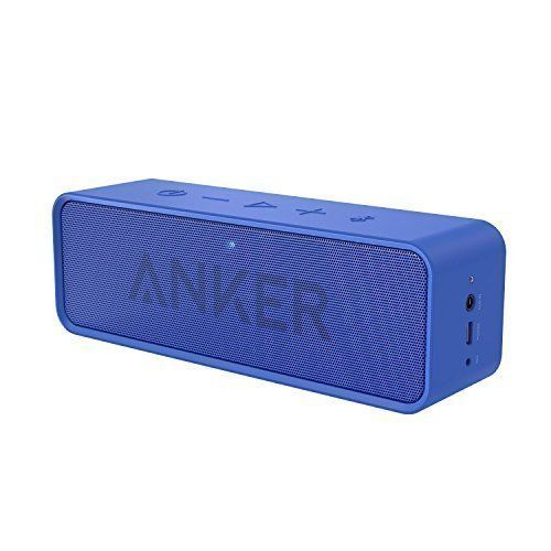 Anker SoundCore Bluetooth Speaker with 24-Hour Playtime, 66-Foot Bluetooth Range & Built-in Mic, Dual-Driver Portable Wireless Speaker with Low Harmonic Distortion and Superior Sound - Blue. The Anker Advantage: Join the 10 million+ powered by our leading technology. Superior Sound Quality: Experience your music in full-bodied stereo realized through dual high-performance drivers and a unique spiral bass port (patented). Less than 1% total harmonic distortion ensures enhanced clarity and...
