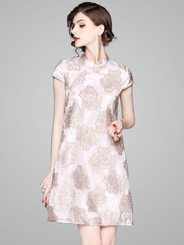 Pink Woven Floral A-Line Qipao / Cheongsam Cocktail Dress