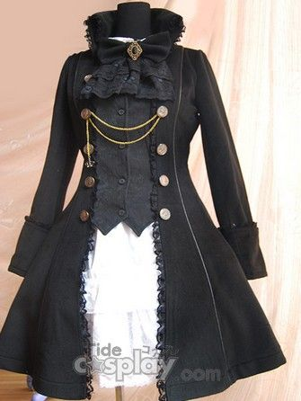 http://www.tidecosplay.com/cheap-Gothic-Black-Suede-Lace-Chain-Bow-Lolita-Coat_p260.html