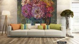 Prachtige kleuren, haal de zomer in huis met dit prachtige kunstwerk van Floris Verster! Dit behang is leverbaar als maatwerk en diverse soorten materialen. #behangen #behang #florisverster #kunst #oudemeester #hollandsemeester #wallpaper #interior #interieur #wonen #woonkamer #kunstaandemuur #behangopmaat #megawall #zinnia #boeket