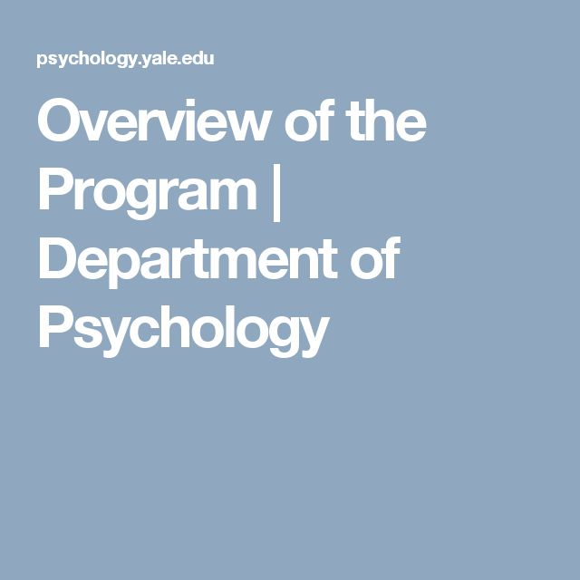 Overview of the Program  |  Department of Psychology