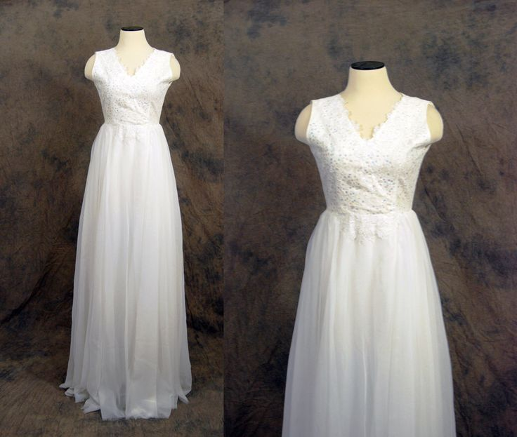 vintage 60s Wedding Dress - White Lace Chiffon Princess Full Length Bridal 1960s Wedding Gown Tall Sz XS by jessamity on Etsy https://www.etsy.com/listing/103173311/vintage-60s-wedding-dress-white-lace