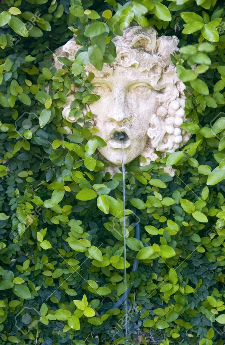 A Greek Garden Wall Fountain Of A God Like Face Surrounded By Vines ...