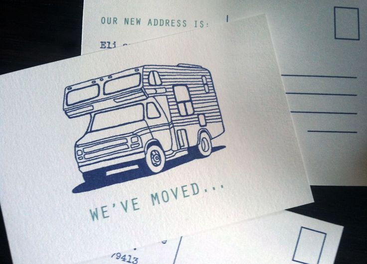 MOVING ANNOUNCEMENT Postcard. Custom Made Moving Card. Just Moved Relocation Card. New Address Card. We've Moved Card. Retro Camper Van by DesignParlour on Etsy