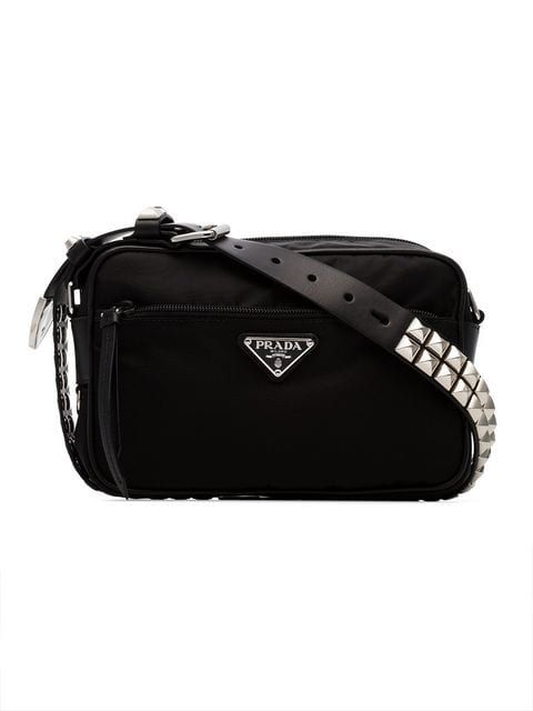 22a76f5dd9dbd5 Prada Black Studded Strap Textile Shoulder Bag in 2019 | HANDBAGS ...