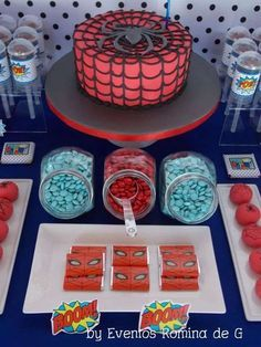 Dessert table and birthday cake at a  Spiderman Birthday Party! See more party planning ideas at CatchMyParty.com!
