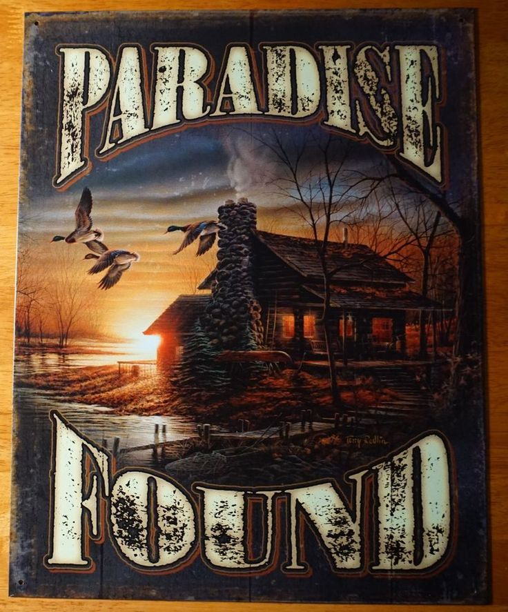 PARADISE FOUND Rustic Lake Log Cabin Geese Canoe Lodge Home Decor Sign - NEW  #Lodge