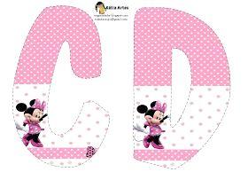 Lindo alfabeto de Minnie saludando, en rosa y blanco.