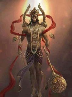 Hanuman is a Hindu god and an ardent devotee of the god Rama. He is one of the central figures in the Hindu epic Ramayana and its various versions. He participated in Rama's war against the demon king Ravana depicted in Ramayana. Several texts also present him as an incarnation of Shiva. He is the son of Anjana and Kesari, and is also described as the son of the wind-god Vayu, who according to several stories, played a role in his birth.