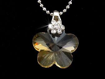 Pandantiv placat cu aur alb 18k cu cristal sampanie