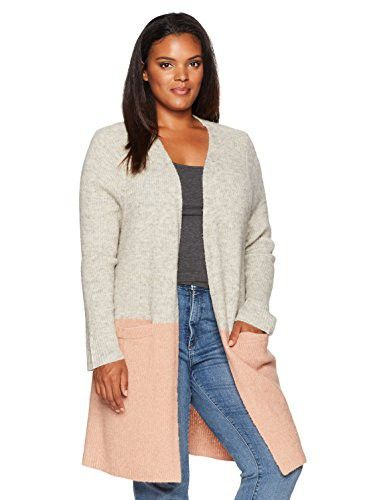 9672aa54dfc Junarose Women s Plus Size Color Block Long Sleeve Open Front Cardigan