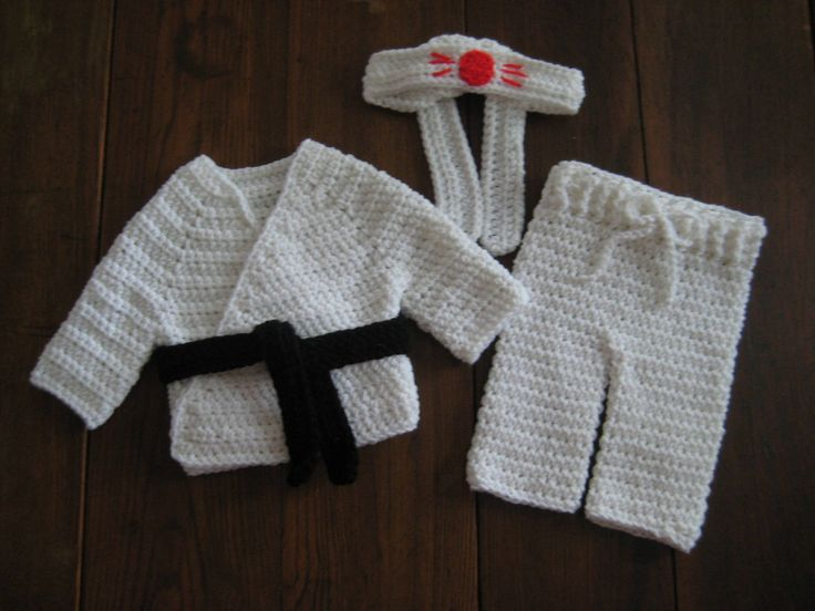 Karate Uniform Outfit; Crochet Martial Arts Uniform Outfit; Newborn Baby Karate Martial Arts; Infant Karate Outfit; Photo Prop by DACcrochet on Etsy