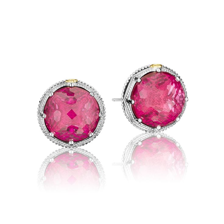 Simple studs. These pretty in pink earrings are sure to make any woman feel gorgeous. Each stone is nestled in the center of milligran silver detailing and these earrings are the simplest way to add some glamour to any outfit.